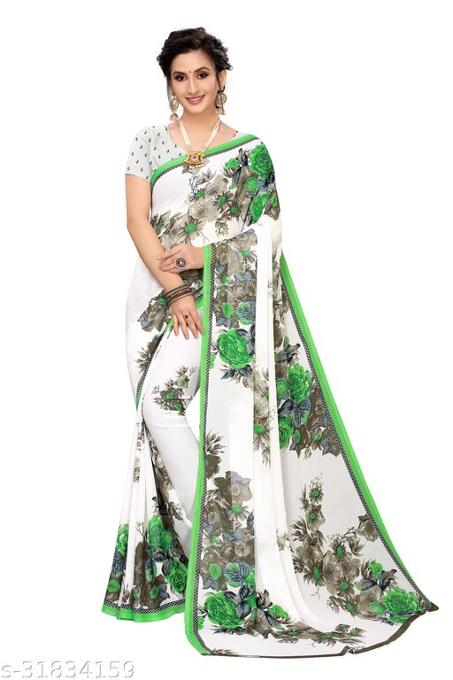 Womens Georgette saree With Blouse Piece