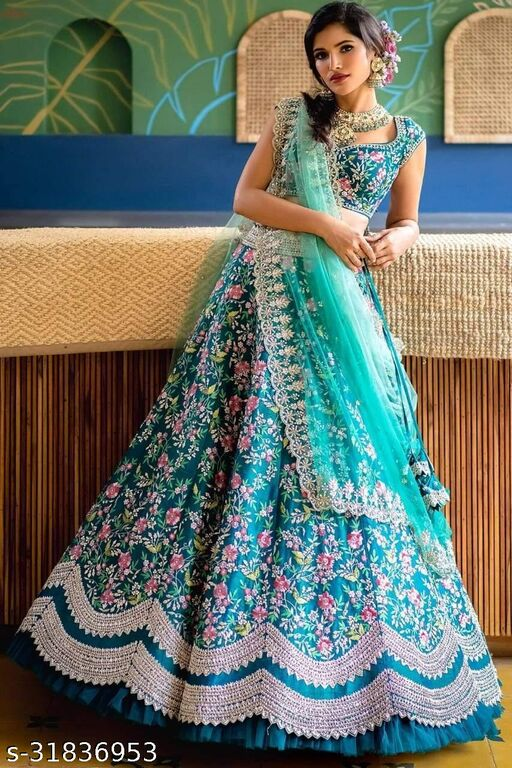 Aqua Blue Designer Partywear Embroidered work Malay sati Material Lehenga Choli LC-299