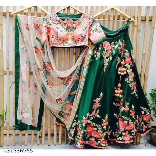 Green Colored Partywear Designer Embroidered Malay Satin Silk Lehenga Choli LC 225