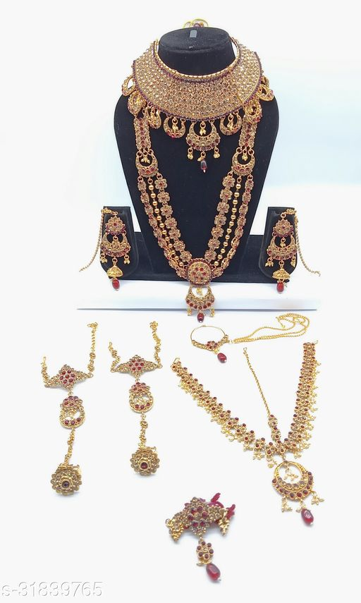 Maroon Stone Chand Bali Style Full Bridal Jewellery Set