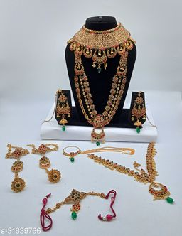 Red & Green Stone Chand Bali Style Full Bridal Jewellery Set
