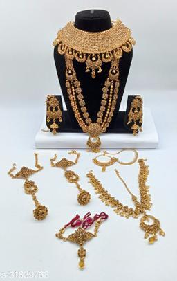 Golden Stone Chand Bali Style Full Bridal Jewellery  Set