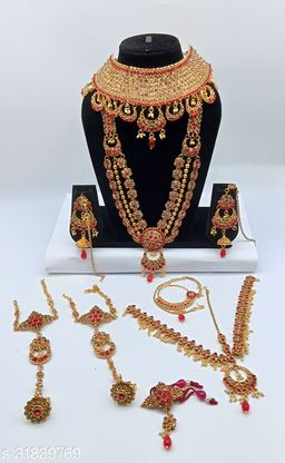 Red Stone Chand Bali Style Full Bridal Jewellery Set