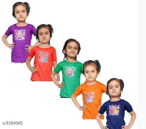 Tshirts Elegant Cotton Printed Kid's T-Shirts (Pack Of 5) Fabric: Cotton Sleeves: Sleeves Are Included Size: Age Group (6 Months - 12 Months) - 14 in Age Group (12 Months - 18 Months) - 16 in Age Group (18 Months - 24 Months) - 18 in Age Group (2 - 3 Years) - 20 in Age Group (3 - 4 Years) - 22 in Age Group (4 - 5 Years) - 24 in Type: Stitched Description: It Has 5 Pieces Of Kid's Girl's T-Shirts Work: Printed Country of Origin: India Sizes Available: 2-3 Years, 3-4 Years, 4-5 Years, 5-6 Years, 6-12 Months, 12-18 Months, 18-24 Months   Catalog Rating: ★3.8 (2244)  Catalog Name: Doodle Elegant Cotton Printed Kid's T-Shirts Vol 1 CatalogID_437744 C62-SC1143 Code: 323-3184045-