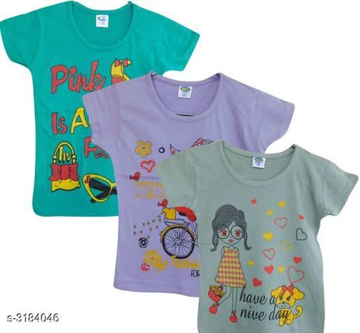 Tshirts Elegant Cotton Printed Kid's T-Shirts (Pack Of 3) Fabric: Cotton Sleeves: Sleeves Are Included Size: Age Group (4 - 5 Years) - 24 in Age Group (5 - 6 Years) - 26 in Age Group (6 - 7 Years) - 28 in Age Group (7 - 8 Years) - 30 in Age Group (8 - 9 Years) - 30 in Age Group (9 - 10 Years) - 32 in Age Group (10 - 11 Years) - 32 in Type: Stitched Description: It Has 3 Pieces Of Kid's Girl's T-Shirts Work: Printed Country of Origin: India Sizes Available: 3-4 Years, 4-5 Years, 5-6 Years, 6-7 Years, 7-8 Years, 8-9 Years, 9-10 Years, 10-11 Years, 11-12 Years, 12-13 Years, 13-14 Years   Catalog Rating: ★3.8 (2244)  Catalog Name: Doodle Elegant Cotton Printed Kid's T-Shirts Vol 1 CatalogID_437744 C62-SC1143 Code: 792-3184046-