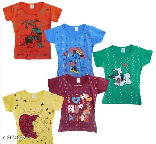 Tshirts Elegant Cotton Printed Kid's T-Shirts (Pack Of 5) Fabric: Cotton Sleeves: Sleeves Are Included Size: Age Group (2 - 3 Years) - 20 in Age Group (3 - 4 Years) - 22 in Age Group (4 - 5 Years) - 24 in Type: Stitched Description: It Has 5 Pieces Of Kid's Girl's T-Shirts Work: Printed Country of Origin: India Sizes Available: 2-3 Years, 3-4 Years, 4-5 Years, 18-24 Months   Catalog Rating: ★3.8 (2244)  Catalog Name: Doodle Elegant Cotton Printed Kid's T-Shirts Vol 1 CatalogID_437744 C62-SC1143 Code: 523-3184048-