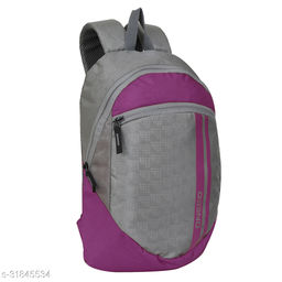 Small 15 Litre Backpack Stylish and unisex Water Repellent 1-2 Hours trip bag for Daily Use single compartment (Grey-Pink)