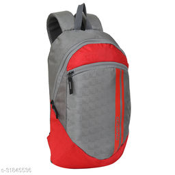 Small 15 Litre Backpack Stylish and unisex Water Repellent 1-2 Hours trip bag for Daily Use single compartment (Grey-Red)