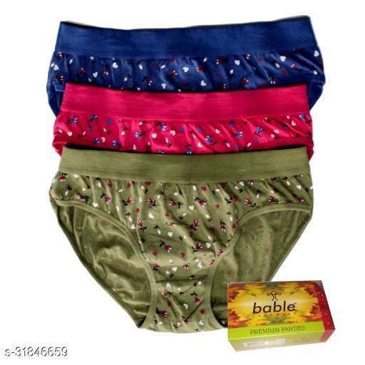 Women Bikini Aqua Blue Cotton Panty (Pack of 3)