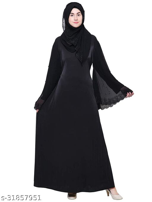 Beautiful Women's Imported Crystal Stretchable Lycra Fabric Stone Work Abaya Burqa for stylish Girl's With Hijab (Scarf) And Adjustable Belt