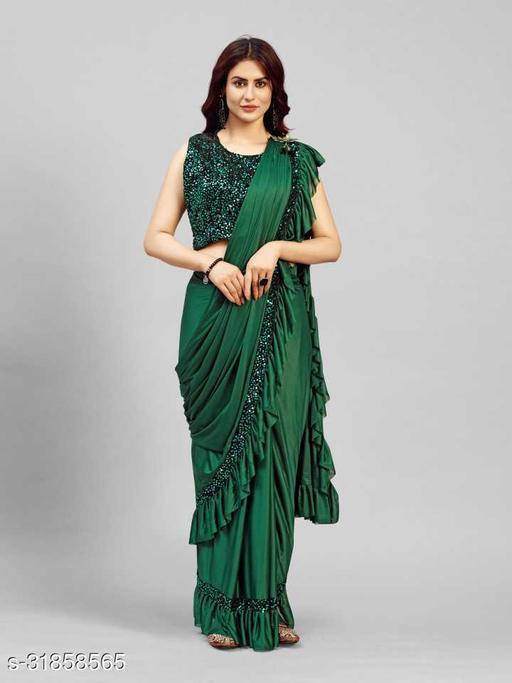 Womens Lycra Ready To Wear Sarees  1 Minute Saree
