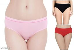 Women Hipster Black Cotton Blend Panty (Pack of 3)