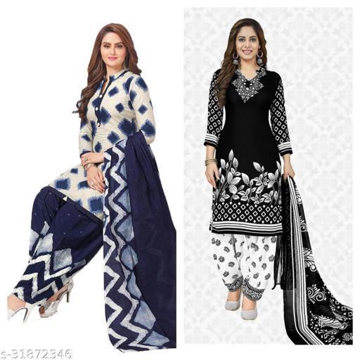 printed design womens dress materials(pack of 2)