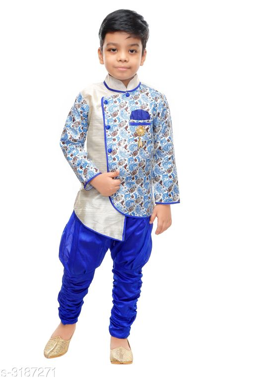 Sherwanis Elegant Art Silk Kid's Boy's Sherwani Set  *Fabric* Sherwani  - Art Silk ,  Pyjama - Art Silk  *Sleeves* Sleeves Are Included  *Size* Age Group (9 Months - 12 Months) - 20 in Age Group (12 Months - 18 Months) - 22 in Age Group (18 Months - 24 Months) - 24 in Age Group (2 - 3 Years) - 26 in Age Group (3 - 4 Years) - 28 in Age Group (4 - 5 Years) - 30 in Age Group (5 - 6 Years) - 32 in Age Group (6 - 7 Years) - 34 in  *Type* Stitched  *Description* It Has 1 Piece Of Kid's Boy's Sherwani & 1 Piece Of Boy's Pyjama  *Work* Sherwani - Printed , Pyjama - Solid  *Sizes Available* 2-3 Years, 3-4 Years, 4-5 Years, 5-6 Years, 6-7 Years, 9-12 Months, 12-18 Months, 18-24 Months, 1-2 Years *   Catalog Rating: ★3.8 (536)  Catalog Name: Doodle Elegant Art Silk Kid's Boy's Sherwani Sets Vol 1 CatalogID_438306 C58-SC1172 Code: 682-3187271-