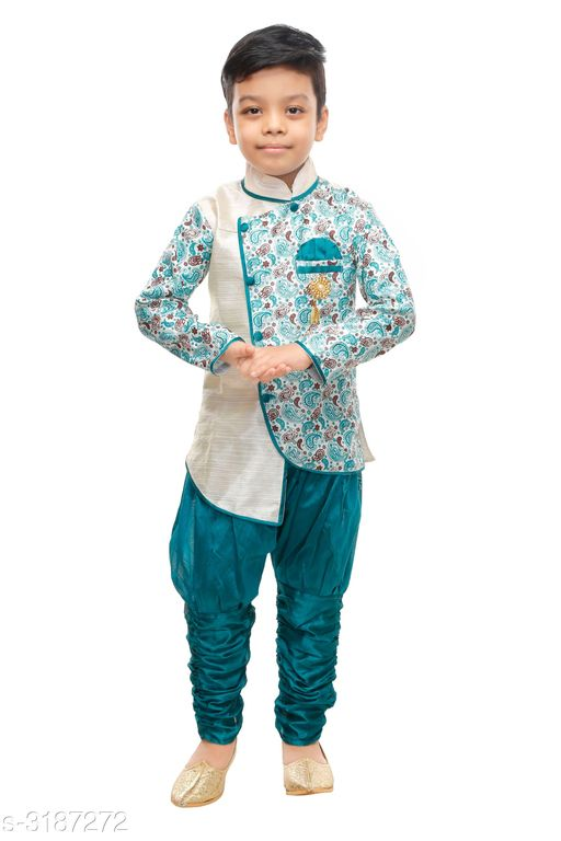 Sherwanis Elegant Art Silk Kid's Boy's Sherwani Set  *Fabric* Sherwani  - Art Silk ,  Pyjama - Art Silk  *Sleeves* Sleeves Are Included  *Size* Age Group (9 Months - 12 Months) - 20 in Age Group (12 Months - 18 Months) - 22 in Age Group (18 Months - 24 Months) - 24 in Age Group (2 - 3 Years) - 26 in Age Group (3 - 4 Years) - 28 in Age Group (4 - 5 Years) - 30 in Age Group (5 - 6 Years) - 32 in Age Group (6 - 7 Years) - 34 in  *Type* Stitched  *Description* It Has 1 Piece Of Kid's Boy's Sherwani & 1 Piece Of Boy's Pyjama  *Work* Sherwani - Printed , Pyjama - Solid  *Sizes Available* 2-3 Years, 3-4 Years, 4-5 Years, 5-6 Years, 6-7 Years, 9-12 Months, 12-18 Months, 18-24 Months, 1-2 Years *   Catalog Rating: ★3.8 (536)  Catalog Name: Doodle Elegant Art Silk Kid's Boy's Sherwani Sets Vol 1 CatalogID_438306 C58-SC1172 Code: 682-3187272-