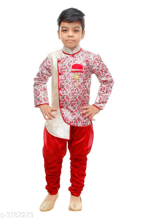 Sherwanis Elegant Art Silk Kid's Boy's Sherwani Set  *Fabric* Sherwani  - Art Silk ,  Pyjama - Art Silk  *Sleeves* Sleeves Are Included  *Size* Age Group (9 Months - 12 Months) - 20 in Age Group (12 Months - 18 Months) - 22 in Age Group (18 Months - 24 Months) - 24 in Age Group (2 - 3 Years) - 26 in Age Group (3 - 4 Years) - 28 in Age Group (4 - 5 Years) - 30 in Age Group (5 - 6 Years) - 32 in Age Group (6 - 7 Years) - 34 in  *Type* Stitched  *Description* It Has 1 Piece Of Kid's Boy's Sherwani & 1 Piece Of Boy's Pyjama  *Work* Sherwani - Printed , Pyjama - Solid  *Sizes Available* 2-3 Years, 3-4 Years, 4-5 Years, 5-6 Years, 6-7 Years, 9-12 Months, 12-18 Months, 18-24 Months, 1-2 Years *   Catalog Rating: ★3.8 (536)  Catalog Name: Doodle Elegant Art Silk Kid's Boy's Sherwani Sets Vol 1 CatalogID_438306 C58-SC1172 Code: 682-3187273-