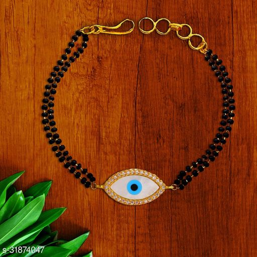 Zivom Evil Eye Nazariya Mother of Pearl Zircon American Diamond 22K Gold Hand Mangalsutra Bracelet for Women