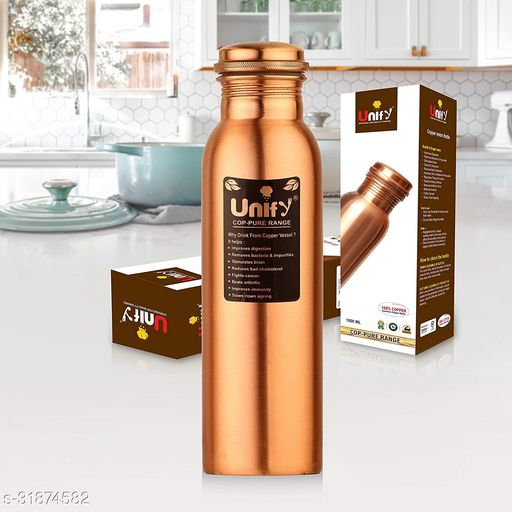 Unify Copper Bottles for Water 1 Liter, Leak Proof 100% Pure Copper Water Bottles 1 Litre - 1000ml
