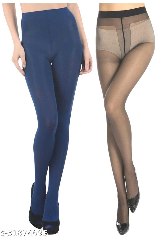 Neska Moda Women's  2 Pairs Black And Dark Blue Nylon Panty Hose Stockings