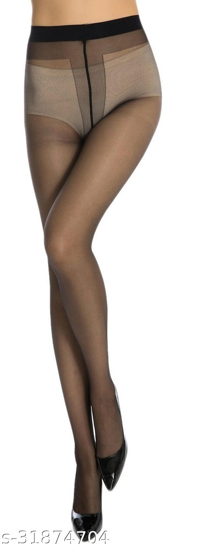 Neska Moda Women's Black Panty Hose Long Comfort Stockings