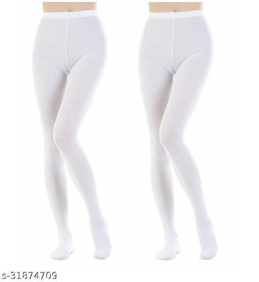 Neska Moda Women's 2 Pair White Panty Hose Long Comfort Stockings