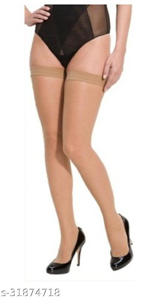 Neska Moda Women's Skin-Beige Casual Thigh-Highs Long Stockings
