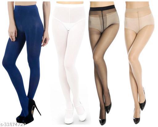 Neska Moda Women's  4 Pairs Multicolor Nylon Panty Hose Stockings