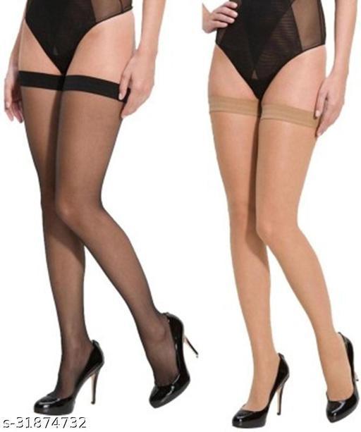 Neska Moda Women's 2 Pair Skin & Black Casual Thigh-Highs Long Stockings
