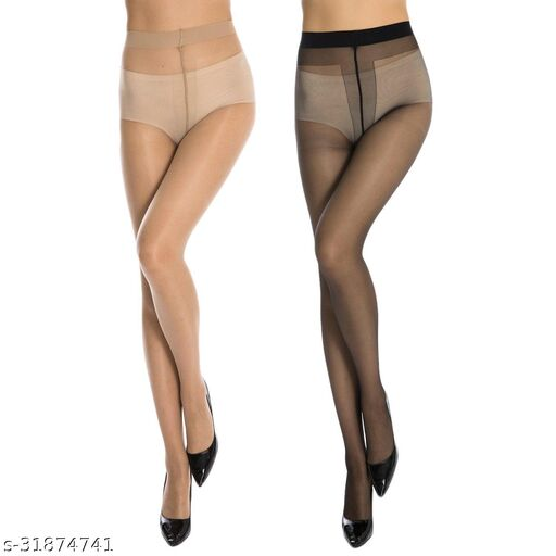 Neska Moda Women's 2 Pair Black & Skin Panty Hose Long Comfort Stockings