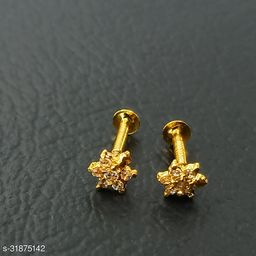 Gold-Plated Piercing screw nosepin combo For Women and Girls pack of 2