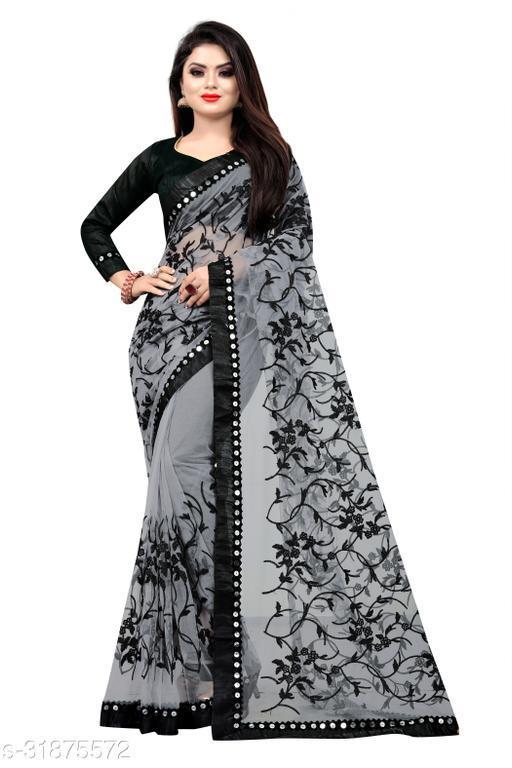 Women's Fashion Embroidery Net Saree