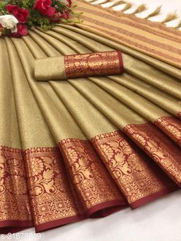 Kapil Fashion Khaki Soft Cotton Silk Saree With Blouse