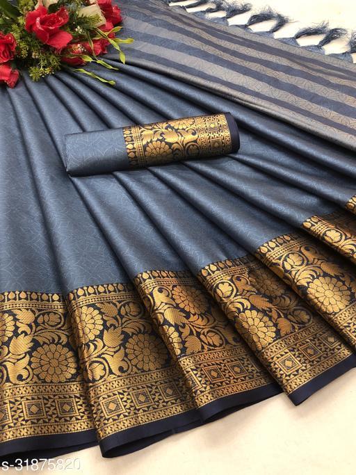 Kapil Fashion Grey Soft Cotton Silk Saree With Blouse