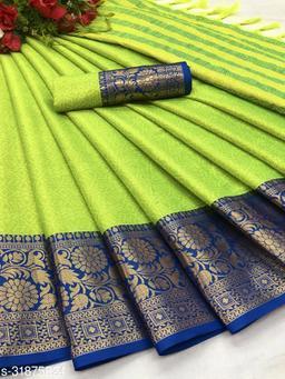 Kapil Fashion Light Green Soft Cotton Silk Saree With Blouse