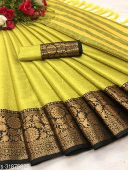 Kapil Fashion Lemon Yellow Soft Cotton Silk Saree With Blouse