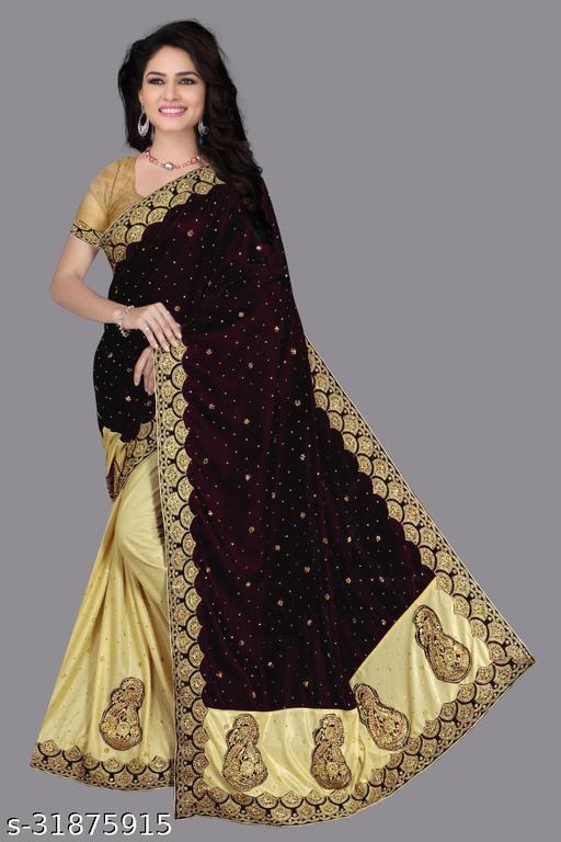 Trendy Embellished Half And Half Velvet Sarees