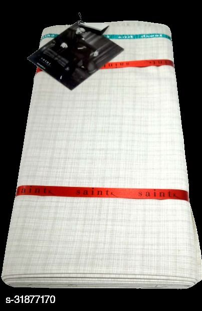 Saintx Men's Unstitched Blended Fabric Safari Fabric (White Grey 2.8 Meter, Free Size) For Gift