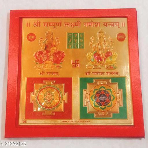 KESAR ZEMS Shree Sampurna Ganesh Laxmi Yantra on foil Paper (23 x 23 x 0.1 cm) Golden