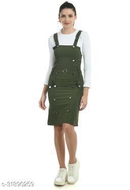 Women Green Dungaree Jumpsuits