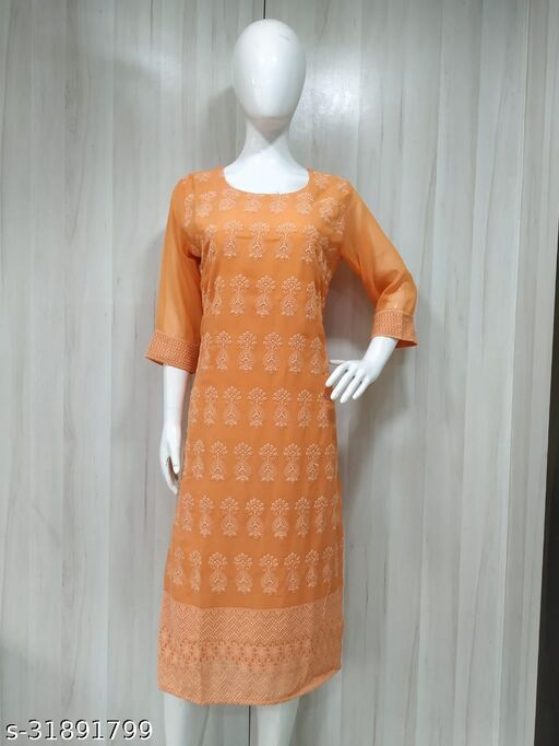 Trendy Women's Chiffon Georgette Lucknowi Chikankari Kurti