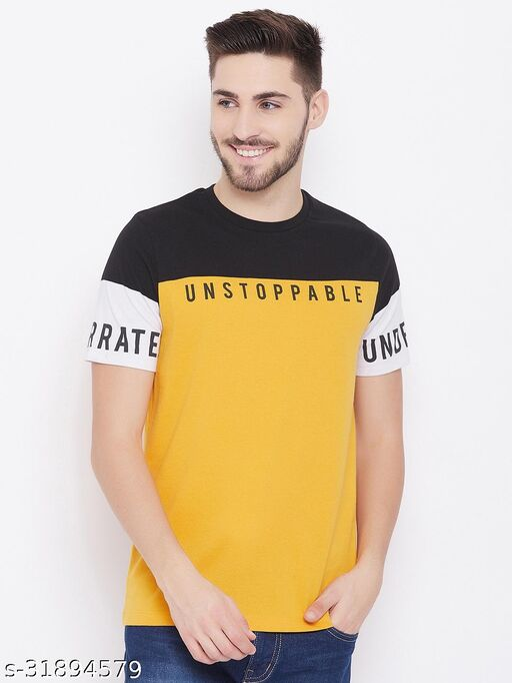 Austtin Wood Men's Yellow Round Neck T-Shirt