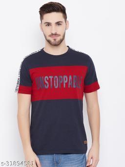Austtin Wood Men's Navy Round Neck T-Shirt