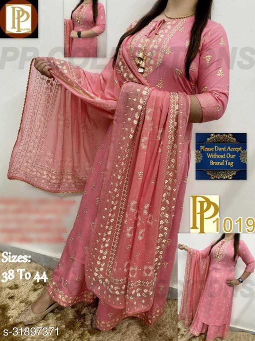 Prakhya Pink Beautiful Printed Kurta With Palazzo & Dupatta