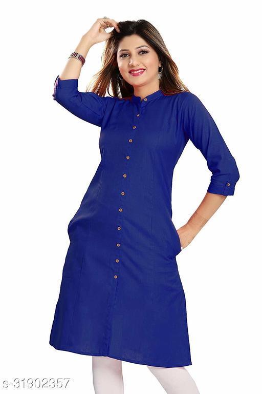 ALC Creation Women's Cotton Solid Straight Kurti