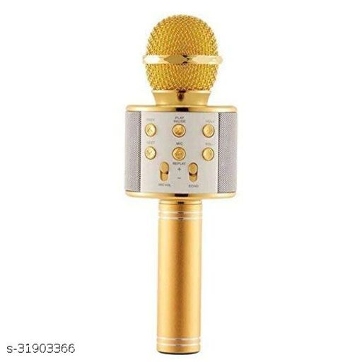 Handheld Wireless Bluetooth Microphone HEAVY QUALITY DOUBLE SPEAKER With Audio Recording Bluetooth Speaker& Karaoke Feature For All Tablets PCs, iOS Android Smartphones, Colour may vary.( assorted)