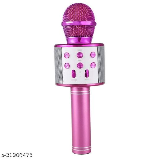 Karaoke Mic Multi-Function Bluetooth Mic with Audio Speaker Advance Handheld Singing Mic, Karaoke Mike with Power Echo Effect for All Smart Devices (ASSORTED)