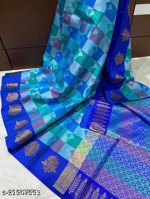 Banarasi Muslin Alfi  Silk  Saree Fancy With Blouse