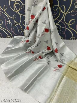 Banarasi Tissue Work Silk  Saree Fancy With Blouse