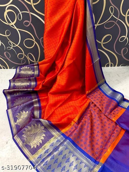 Banarasi Muslin Border Silk Saree Fancy With Blouse