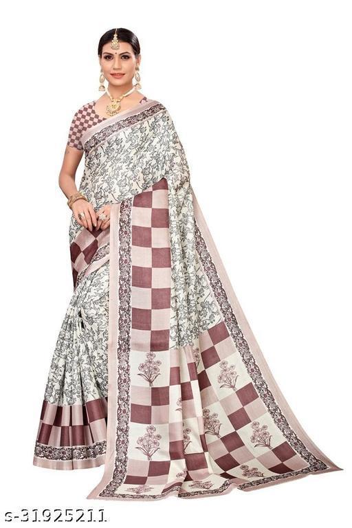 Attractive Khadi Silk saree With Blouse Piece